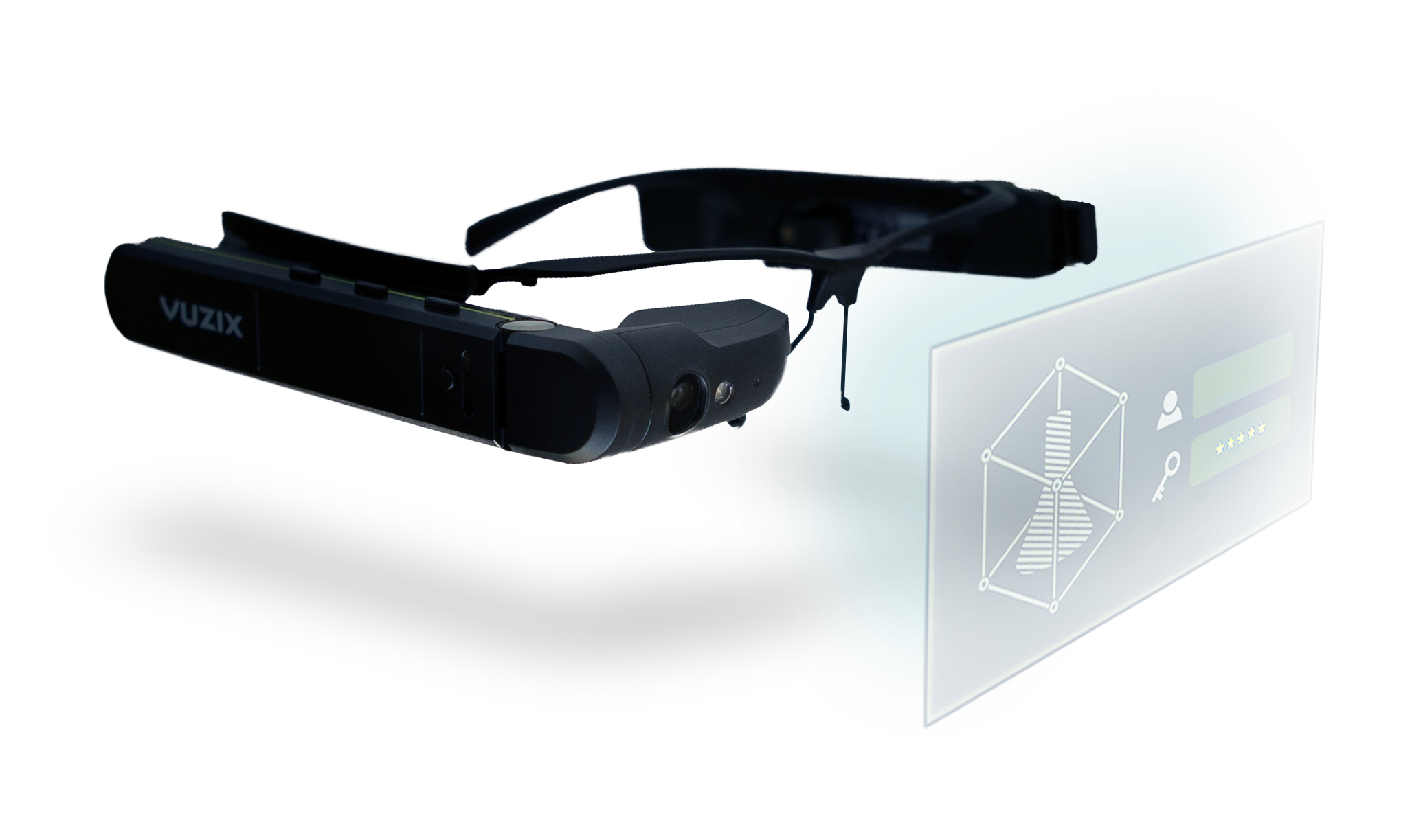 Vuzix M300XL with a projection of sciar's augmented reality (ar) application for smartglasses.
